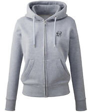 More details for border terrier clothing gifts embroidered ladies organic full zip hoodie