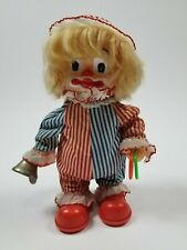 """Vintage Skating Clown Doll 9.5"""" Red White Blue Bell Rolling Shoes Collectible"""