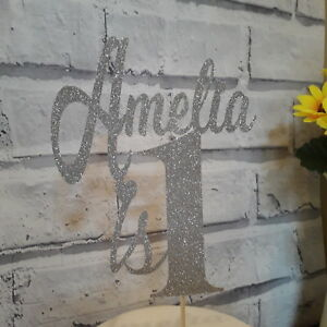 Custom Personalised 1st Birthday Glitter Cake Topper Any Name or Age available