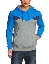 Men's PUMA Hooded Sweatshirt Hoodie Hoody Jumper Pullover Top - Blue Grey M