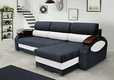 NEW Corner Sofa Bed with 2  Storages, Black and White soft Fabric.