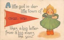 Cecil WI A Little Goil in Der Little Town~Likes A Big Letter From A Big Man 1913