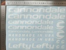 CANNONDALE LEFTY AUFKLEBER SATZ STICKERS SET MTB  BICYCLE Weiss