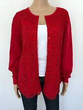 NWT! JOAN VASS Plus Size 2X Red Cotton Lace Cardigan Sweater Knit Top Women's