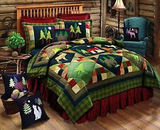 TIMBERLINE Lodge Patchwork King Quilt MOOSE BEAR CABIN PINE TREES Comforter C&F