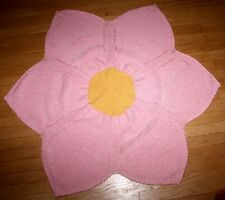 New Handmade Knitted Soft Pink & Yellow Flower Design Baby Afghan / Blanket