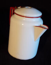 Red and White Enamelware Coffee Pot Vintage Pitcher Decorative Rustic