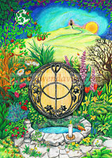Chalice Well Glastonbury Greetings birthday card drawn in UK Pagan Hippy Wicca