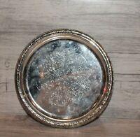 Vintage floral metal round serving tray platter