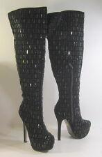 "new Black Rhinestone 5.5"" Stiletto High Heel 2""Platform OVER Knee Boots Size 6.5"