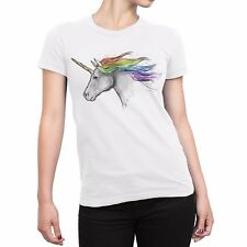 Women's Unicorn Pride White Art T-Shirt All Sizes