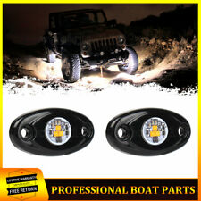 White 2 Pods LED Rock Lights For Jeep Offroad Truck Boat ATV Car Underbody Light