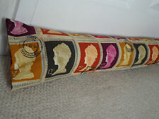 Handmade Cotton Fabric Draught Excluder Stamp Print Red Orange Purple Yellow
