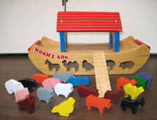 Vintage Wodden Noah's Ark Boat Toy w/ Animals Puzzle Play Set