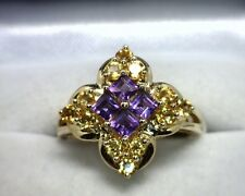 10K Yellow Gold Genuine Amethyst / Citrine Ring Size 8.25