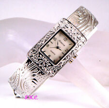 Chic Vintage Deco Nouveau Floral Relief Silver Ladies Bangle Watch With Light BN