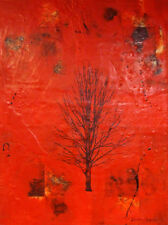 "large dramatic red beeswax encaustic tree painting 24"" x 18"""