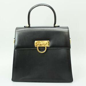 SALVATORE FERRAGAMO Gancini Leather Hand Bag Black E210536