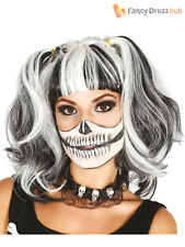 Ladies Black White Bunches Wig Doll Skeleton Halloween Fancy Dress Accessory