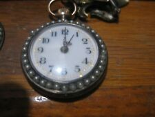 and pearl 28mm Lapel watch w/ fle Antique Swiss 800 silver blue guilloche enamel