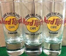 "Hard Rock Cafe CANCUN CSL & TIJUANA 4"" SHOT GLASS ""STP"" Save The Planet HRC Logo"