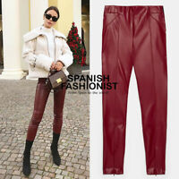 ZARA WOMAN NEW SALE! SS20 RED FAUX LEATHER LEGGINGS  REF: 9815/235 5427/226 7901