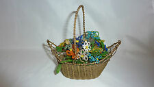 Vintage Small WOVEN BRASS BASKET with Glass Beaded Flowers