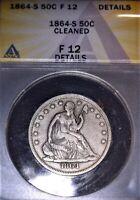 1864-S Seated Liberty Half Dollar, ANACS F12, Civil War Era, Good Solid Coin