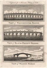 Westminster, Blackfriars & Walton Bridges. Blackfryers. London. HARRISON 1776