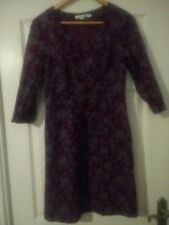 Boden Size 14 Needle Cord Tunic/shift Dress Plum/grey Size 8