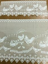 Cafe Lace Curtain Nettex -Farmyard 30 cm plus 60 cm -Ivory -Chickens