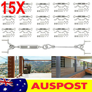 15 x Stainless Steel G316 Wire Cable Handrail Shade Sail Balustrade Turnbuckle