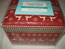 Traditions by WAVERLY flannel QUEEN Sheet set - Nordic Red - Deer Snowflakes