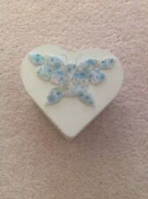 Heart Shaped Wooden Trinket Box With Butterfly Design