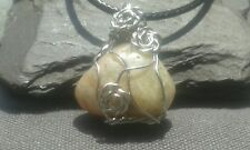 Handmade Natural Petrified Wood Gemstone Silver Wire Wrap Pendant with cord