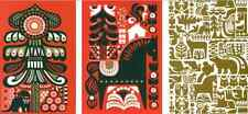 Marimekko Christmas postcards from Finland, SET OF 3, Kanteleen Kutsu red green