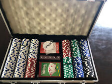 300pc Casino Size Chips Poker Set Gambling Party Game Cards Dice w/case