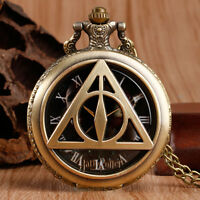 The Deathly Hallows Harry Potter Lord Voldemort Bronze Quartz Pocket Watch Chain