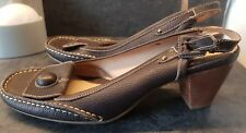 Womans Clarks Brown Leather Sling Back Stappy Low Healed Sandals Size Uk 6