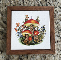 Mushroom Tile Trivet Retro Vintage WALL HANG Basket Wall Decor