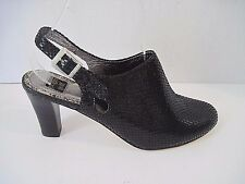 Ginger Goff Black Snakeskin Leather Slingback Heel Bootie Shoes Size 7 $150