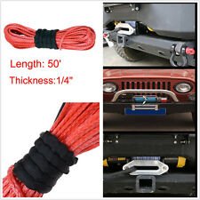 "1/4"" x 50' Synthetic Winch Rope & Red Dyneema 6400 LBs Suits Truck self recovery"