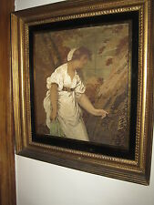 Antique 1812 Georgian Embroidery & Painting On Silk In Orig. Eglomise Frame