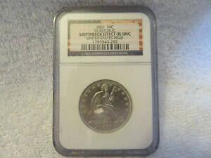 1861 half dollar SS Republic shipwreck effect (B) UNC United States issue NGC