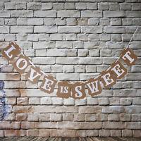 Kraft Paper Love Is Sweet Wedding Banner Bunting Table Rustic Vintage