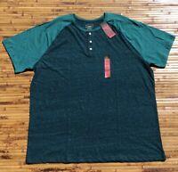 Foundry Plus Size Big Tall Henley Shirt XLT 3XLT 4XL 4XLT Green Mens NEW