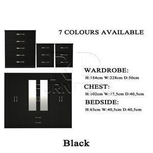 6 Door Wardrobe Bedroom Set - Black