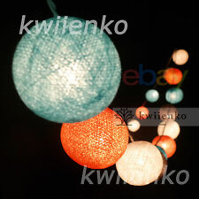 Ready to Use 20,35 COTTON BALL FAIRY STRING LIGHTS PARTY PATIO Holiday WEDDING