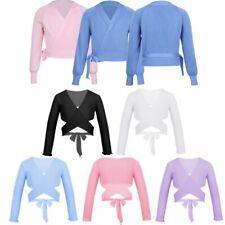 Kids Girls Classic Long Sleeve Wrap Top Ballet Dance Cardigan Gymnastic Costumes