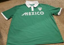 Fifth Sun Mexico Short Sleeve Soccer Jersey Size L Polo Green W/White Collar